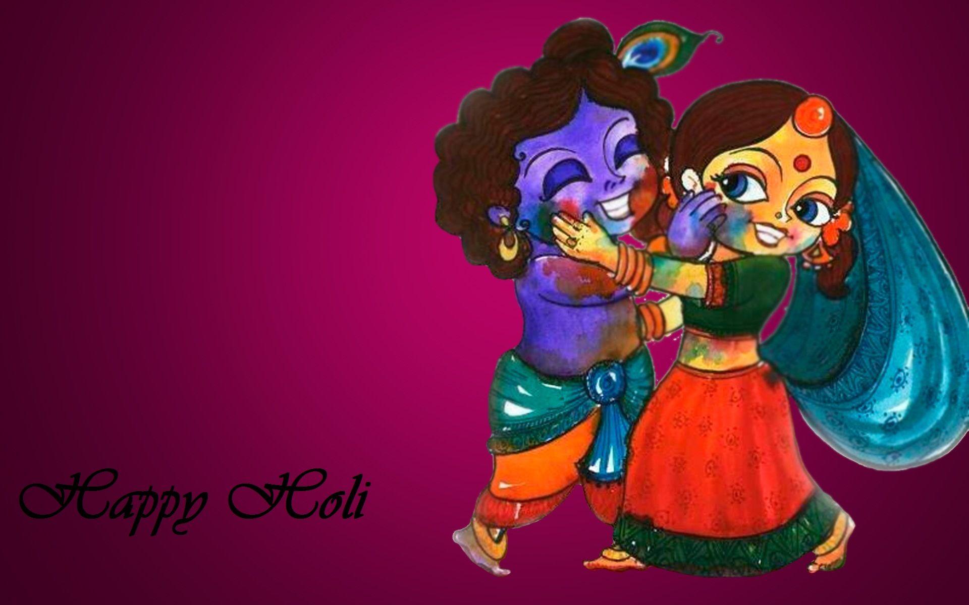 Radha Krishna Playing Holi Animated Happy Holi Wishes Happy