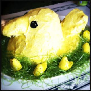 Giant Easter Peep! Made out of yellow cake.