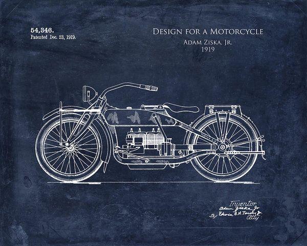 1919 motorcycle patent art print art print by sara h blueprint art blueprint art print featuring the digital art 1919 motorcycle patent art print by sara harris malvernweather Images