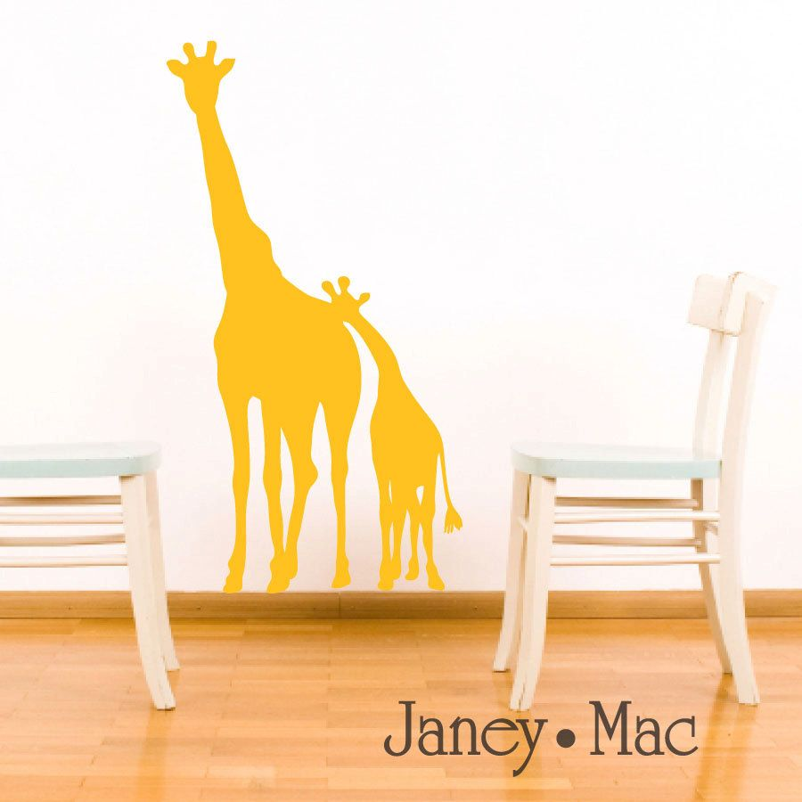 Giraffe Wall Decal Jungle Safari - Mom and Baby Silhouette - Nursery ...