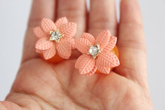 Orange sakura double earrings orange flower by SkylaBoutique #bridal