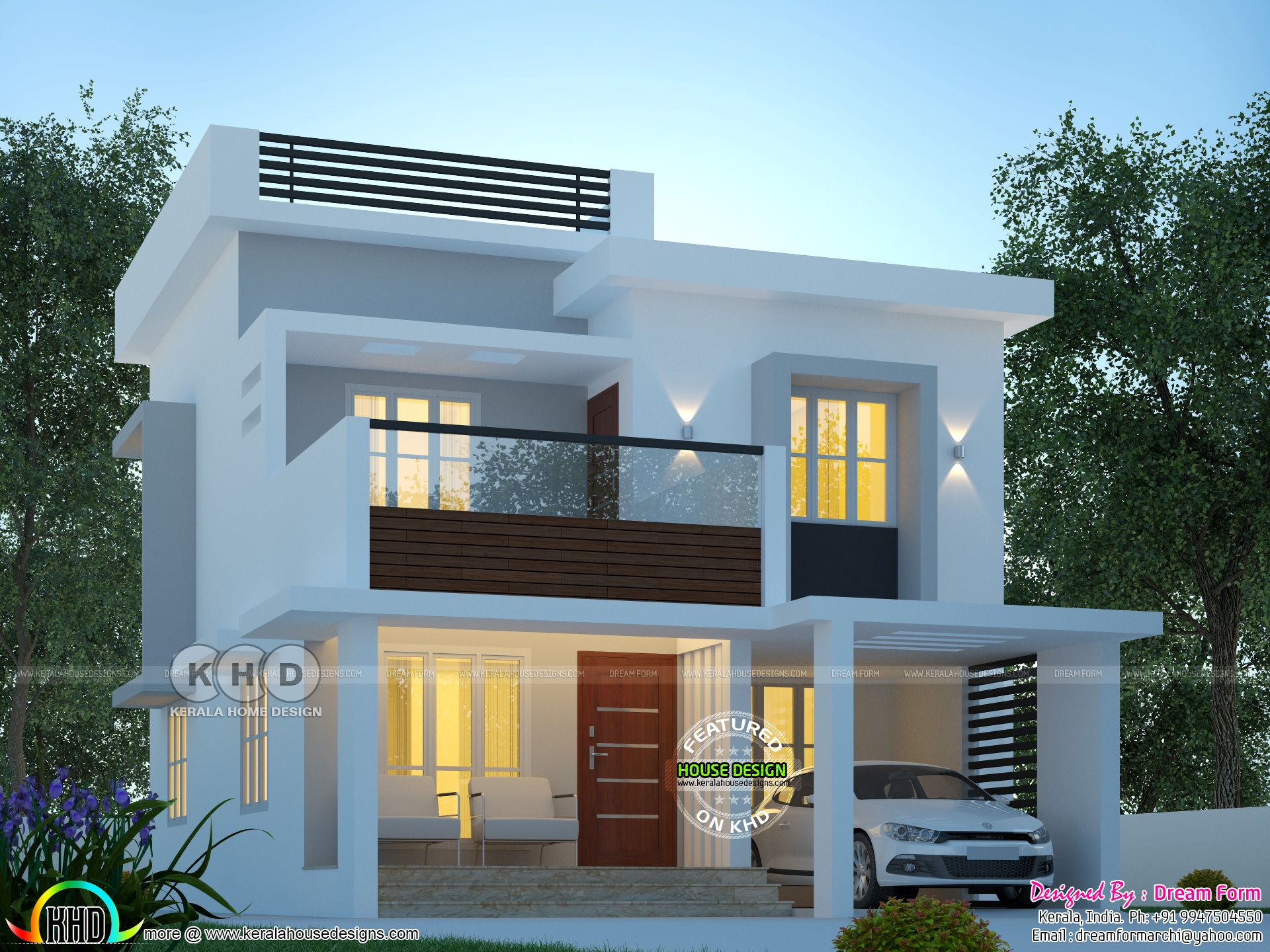 1600 Sq Ft Modern Home Plan With 3 Bedrooms Kerala House Design Bungalow House Design Duplex House Design
