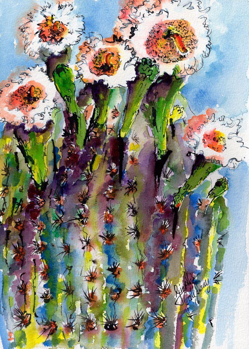 Shop Watercolors and Oil Paintings Cactus flower, Cactus