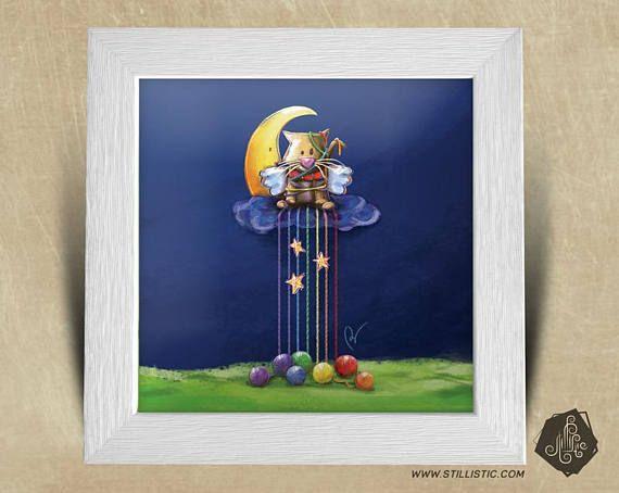 Cadre carré 25x25 cadeau Noël avec Illustration Chaton lune