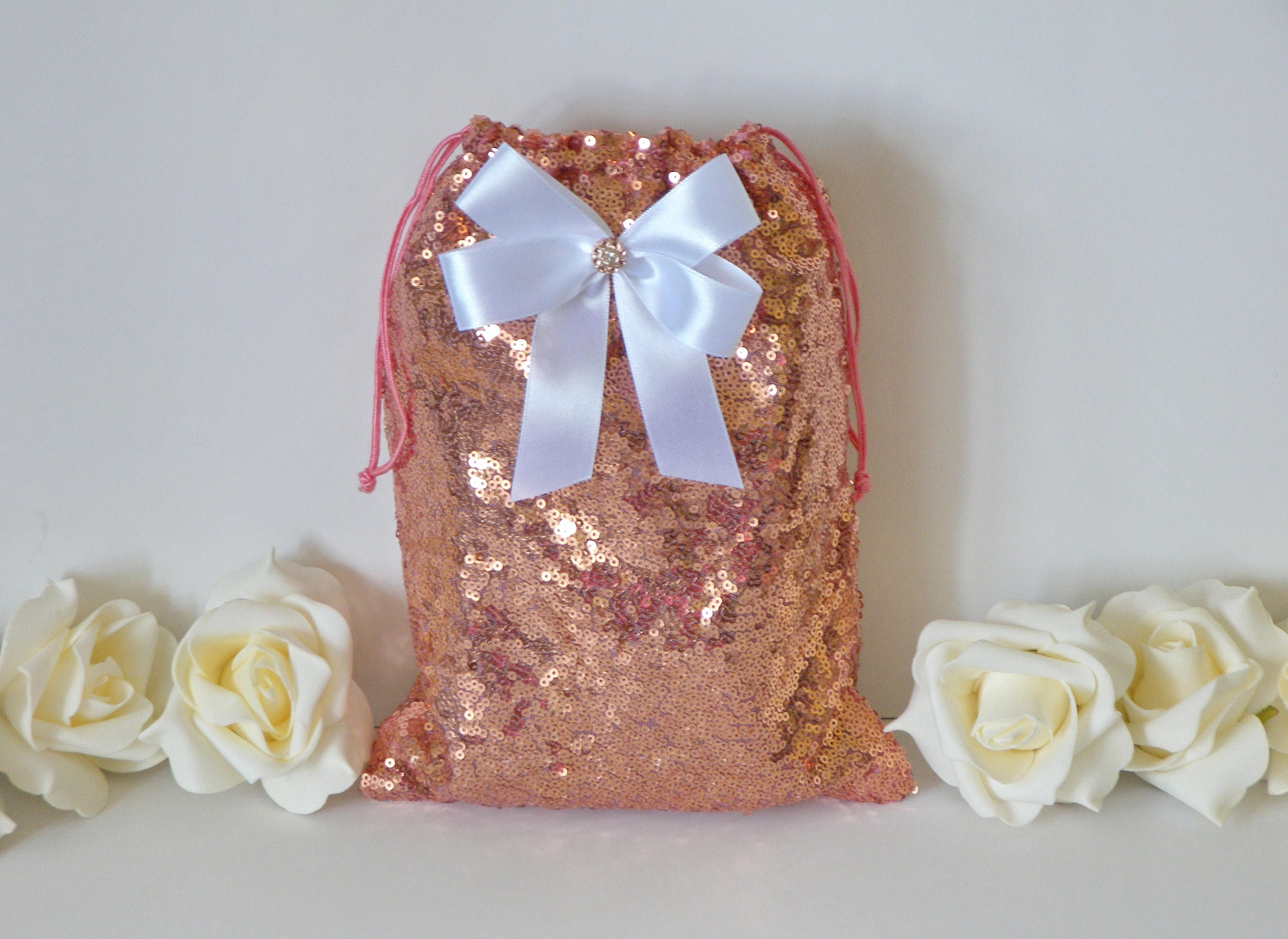 Rose Gold Sequin Dollar Dance Bag With White Bow And Rhinestone Shining Wedding