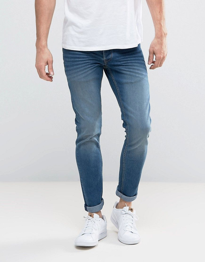 Slim Fit Jeans In Mid Blue Wash With Stretch - Blue Solid Outlet Finishline Free Shipping Countdown Package Outlet Genuine Cheap Sale Cheap Sale From China uPd4IY3IAJ