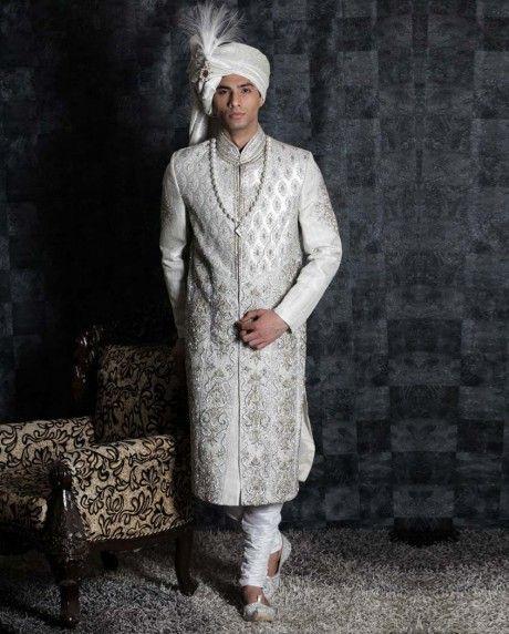 Sizzling Diamonds Studded Silver Sherwani | Mask ...