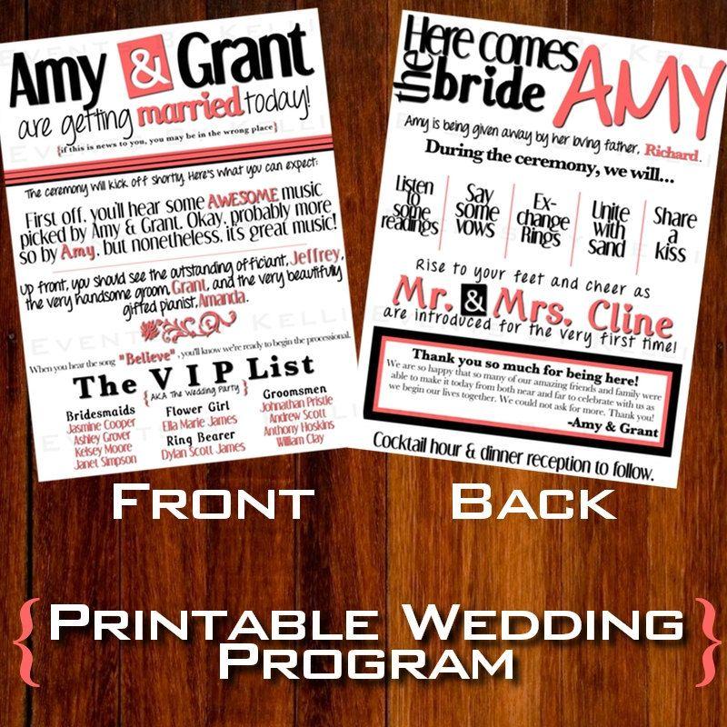 Modern Wedding Ceremony Programs, Wedding Booklet Programs, Modern ...