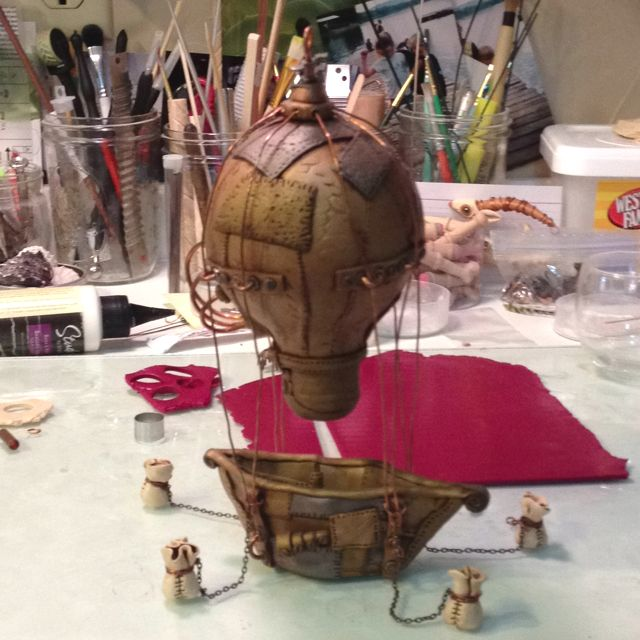 Another Polymer Clay Steam Punk Hot Air Balloon Made By The Clay Cottage Artist Rebecca Belstad Steampunk Crafts Polymer Clay Steampunk Steampunk Christmas