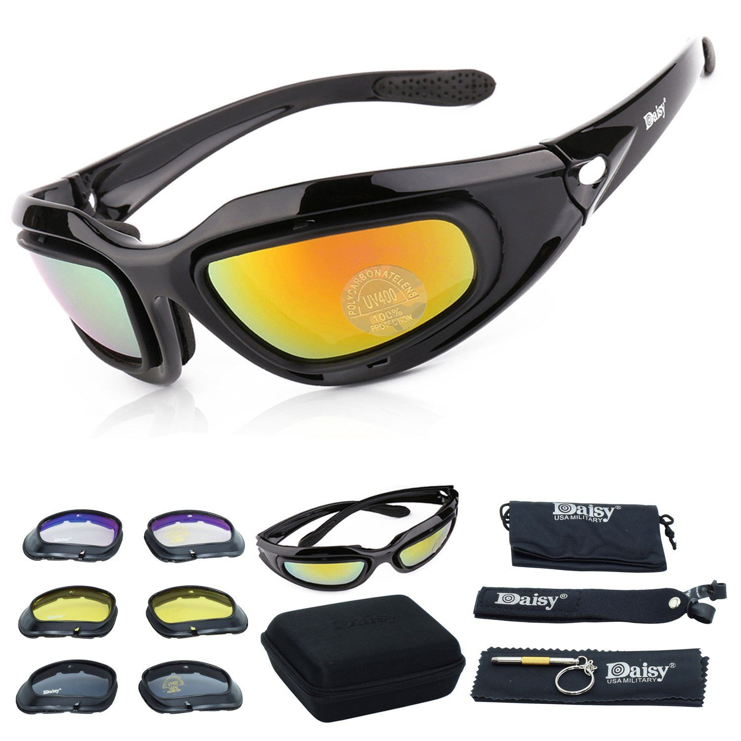 25080866779 Motorcycle Riding Glasses Kit with 4 lens Colors  Easy swap lens kit (1  full kit with 9 accessories)
