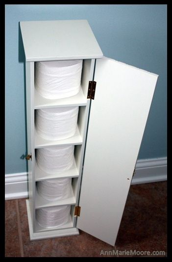 Upcycle a CD Tower into a Toilet Paper Holder - great idea if short on cupboard/drawer space!