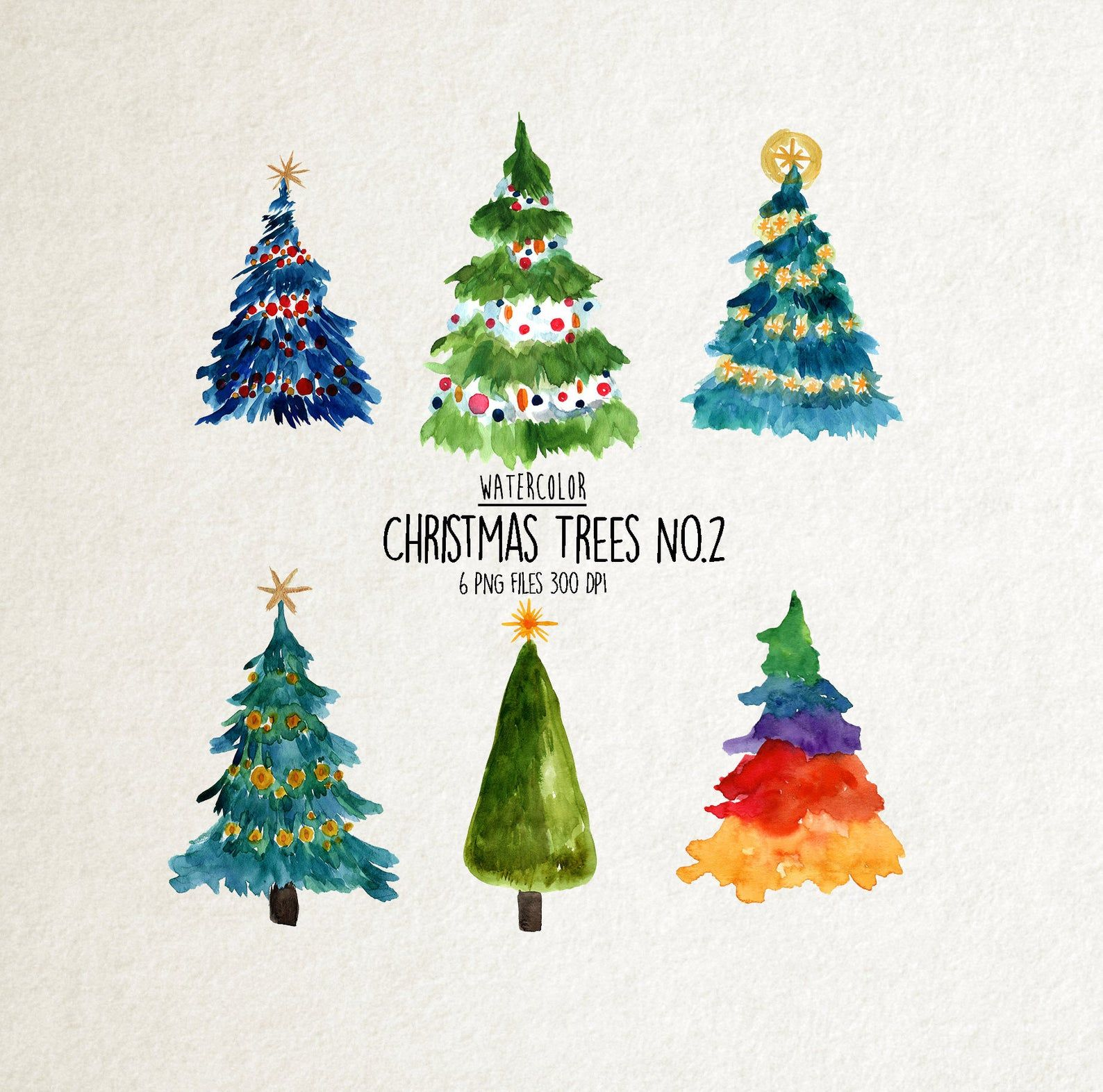Watercolor christmas trees clipart No.2, watercolor winter clipart, pine tree clipart, christmas PNG, christmas Invitation, holiday clipart