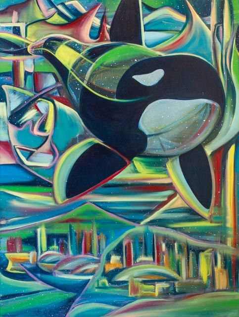 """#Artwork by Taylor Gallegos, """"Orca,"""" Oil on Canvas, 36 x 48, 2015.  View More Work at www.TayloredArt.gallery"""