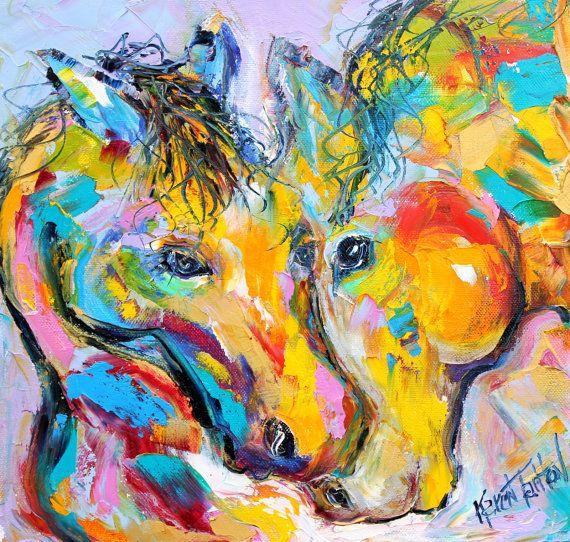 Original oil painting #Horse Love Palette knife by Karensfineart