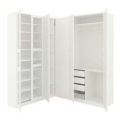 PAX, Corner wardrobe, white Tyssedal, Tyssedal glass Pax