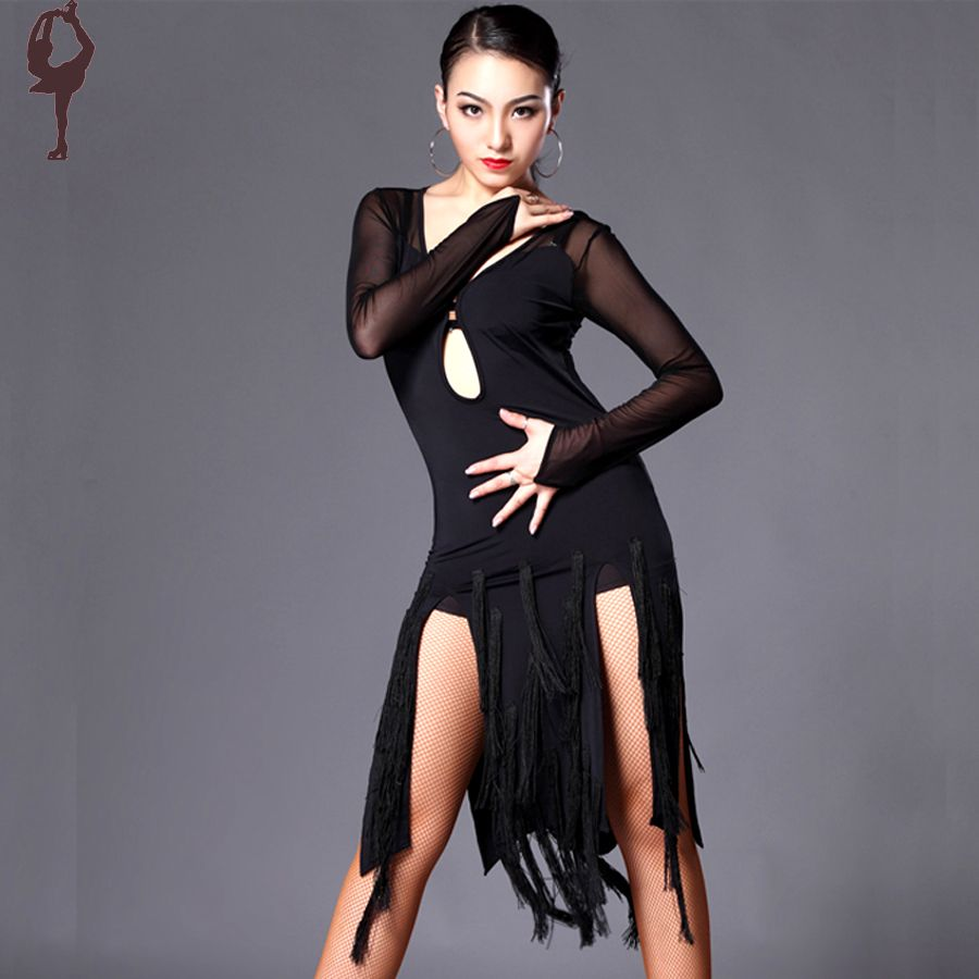 bf3ec6e890c39 2015 Latin Dance Dress Women Cha Cha/Rumba/Samba/Tango/Ballroom Dance Skirt  Sexy Plus Size Club Dresses Vestido Franja DQ13013