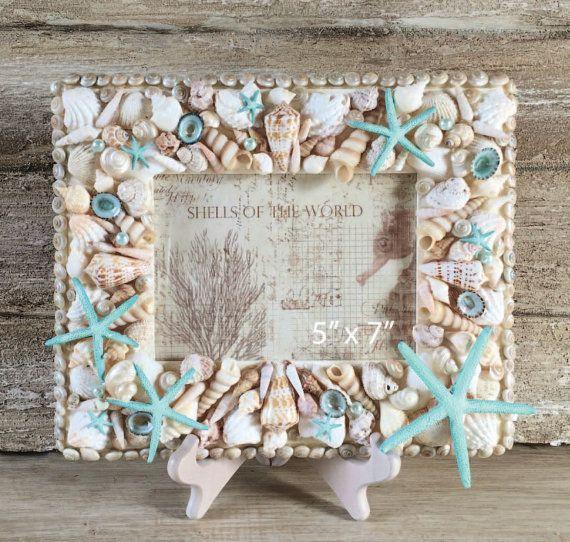 5 x 7 Seashell Frame, Shell Frame, Beach Decor, Photo Frame, Coastal ...