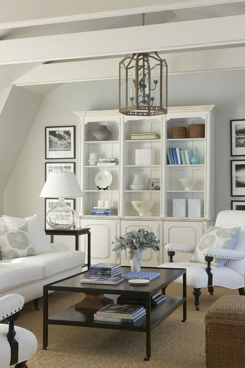 White Hutch Bookcase As Living Room Focal Point