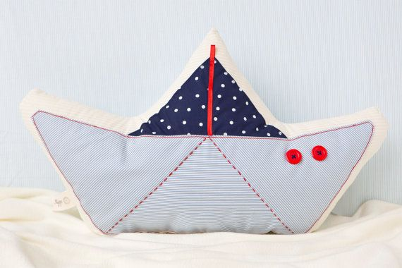 Decorative Pillow. nautical pillow. boat pillow, sailboat plush, kids room decor. red, blue, navy and ivory on Etsy, $45.00