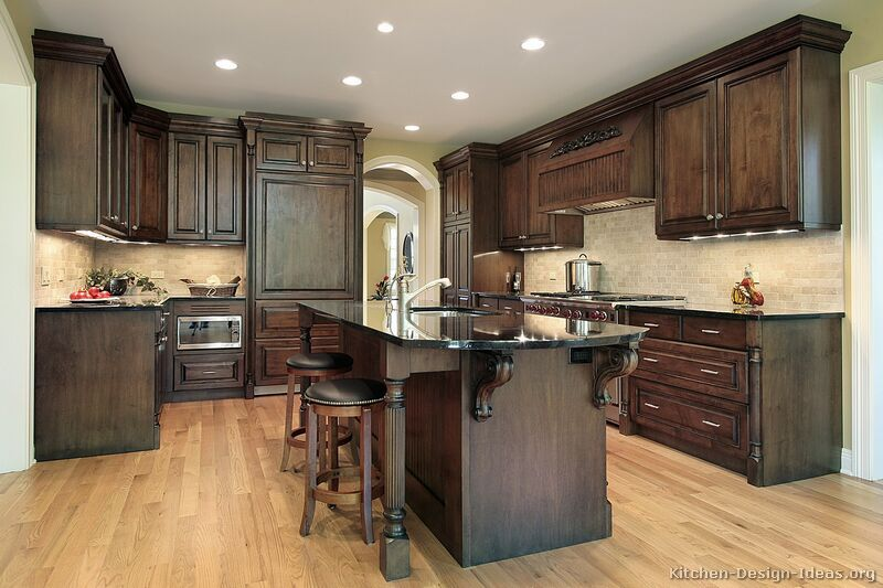 Kitchen Ideas Dark Wood Cabinets.Im In Love With These Colors Traditional Dark Wood Walnut Kitchen