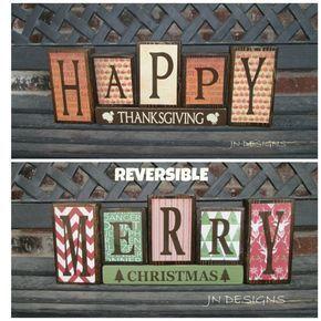Wendbare Weihnachts- und Erntedank-Holzblöcke – (gedämpft) Happy Thanksgiving One …
