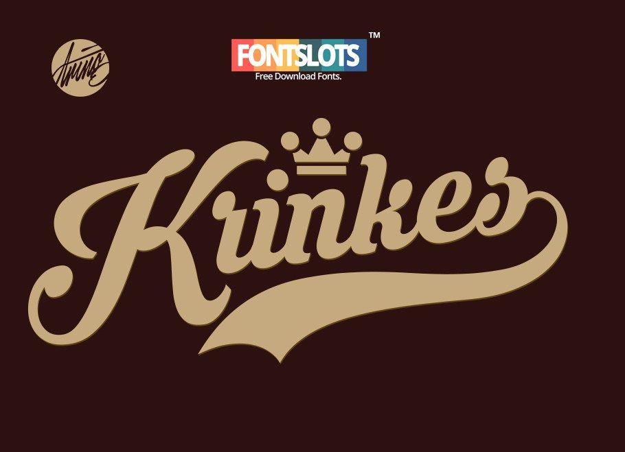 Krinkes Free Font Vintage Fonts Free Cursive Fonts Baseball Font