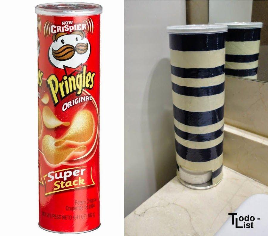 Idea diy dispensador de discos de algod n manualidades for Dispensador de latas para frigorifico