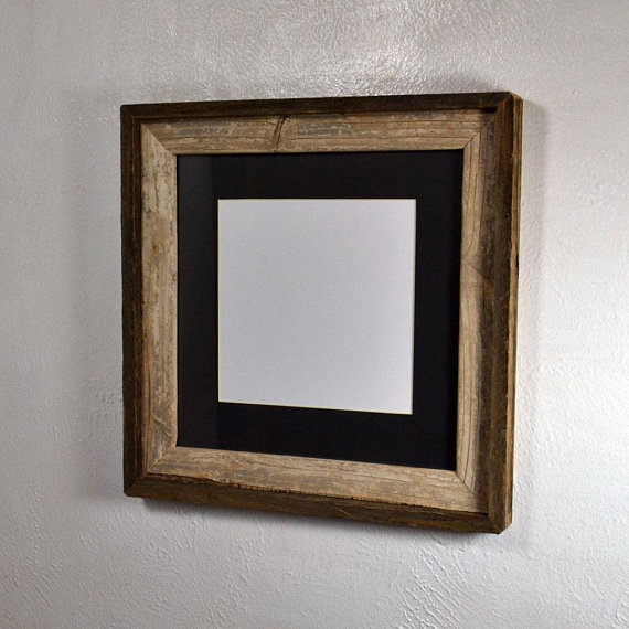 8x8 Black Mat In 12x12 Primitive Reclaimed Wood Picture Frame Fits 8x8 10x10 8 5x11 Or Reclaimed Wood Picture Frames Wood Picture Frames Rustic Picture Frames
