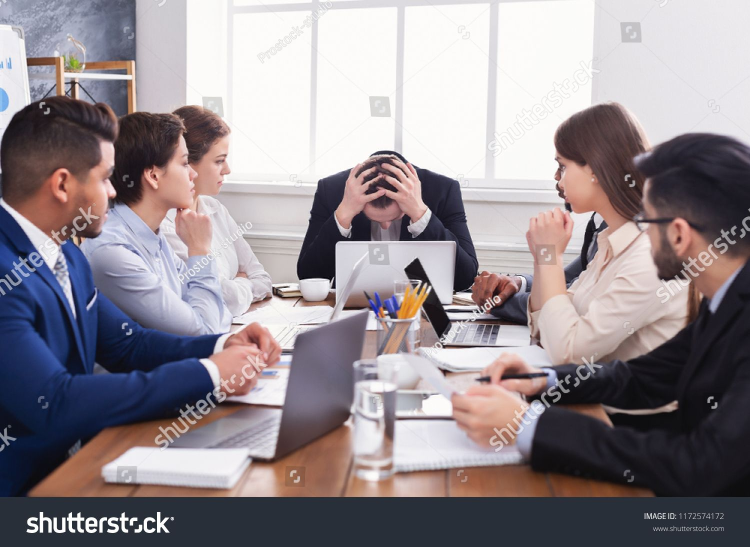 Stressed Boss Having Problem At Business Meeting In Office Problem Boss Stressed Office Logo Design Branding Business Cards Business Meeting Meeting At meeting or in meeting