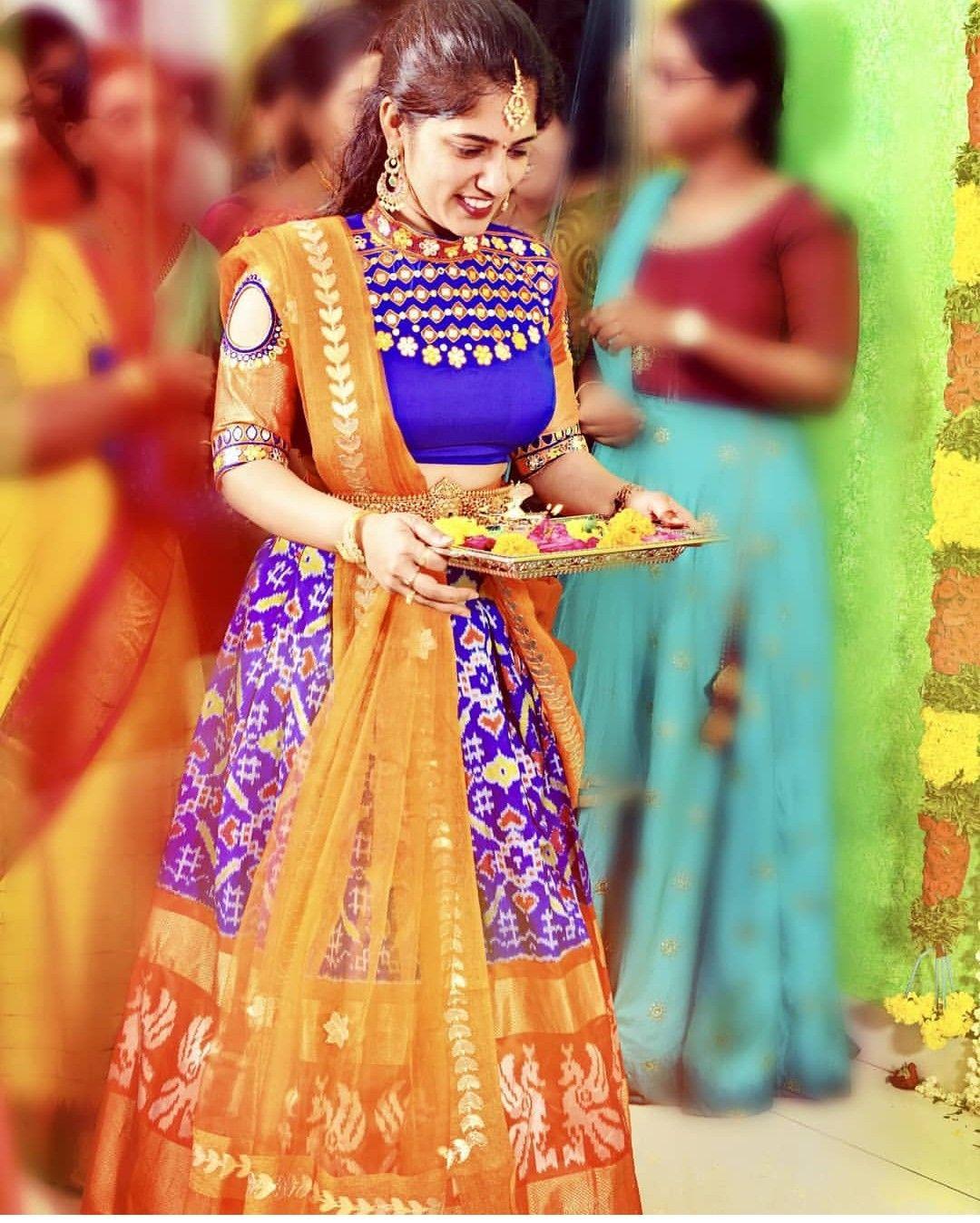 Pin By Naga Pranathi Koduru On Croptop And Skirts Half Saree Designs Lehenga Crop Top Saree Models