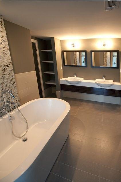 Rectangle tiles make a narrow bathroom feel larger ...