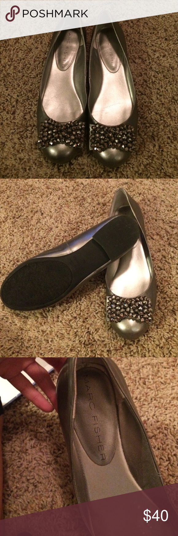 Marc Fisher silver flats So cute on! Little wear but can't really tell. Marc Fisher Shoes Flats & Loafers