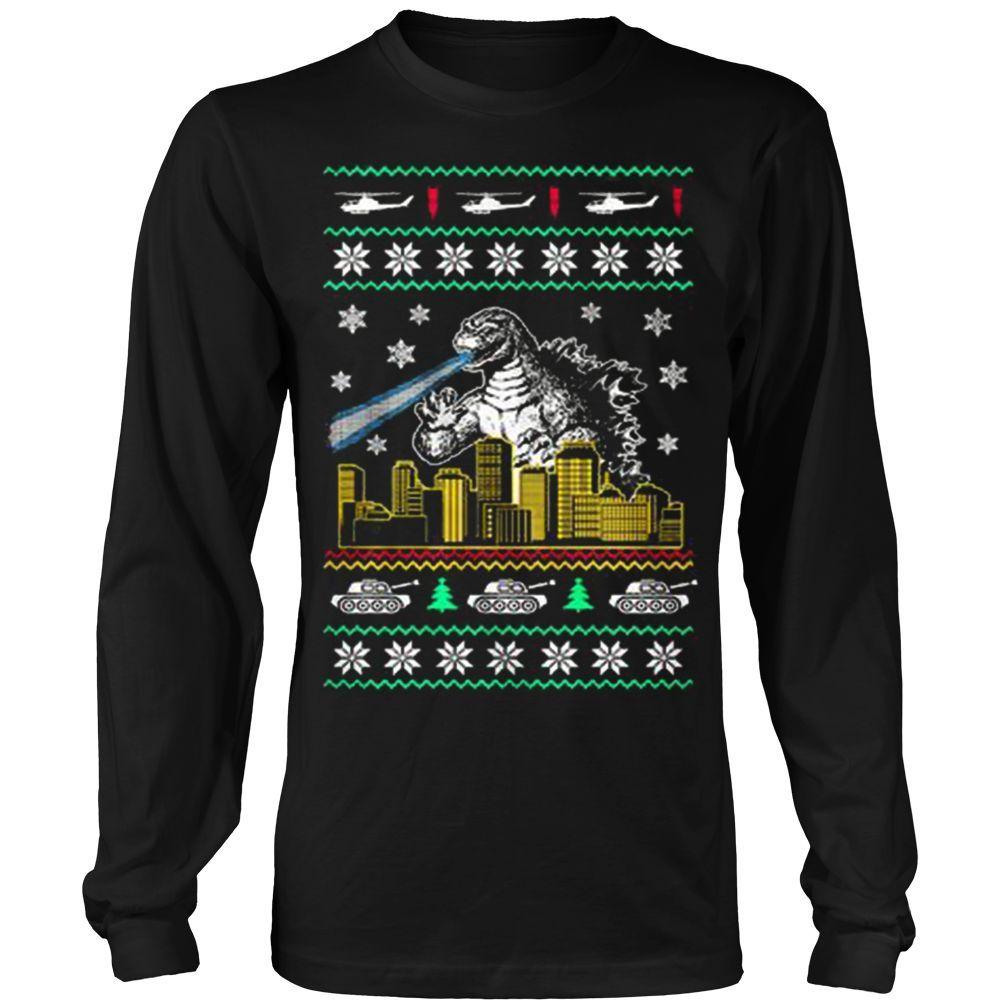 godzilla ugly christmas sweatshirt