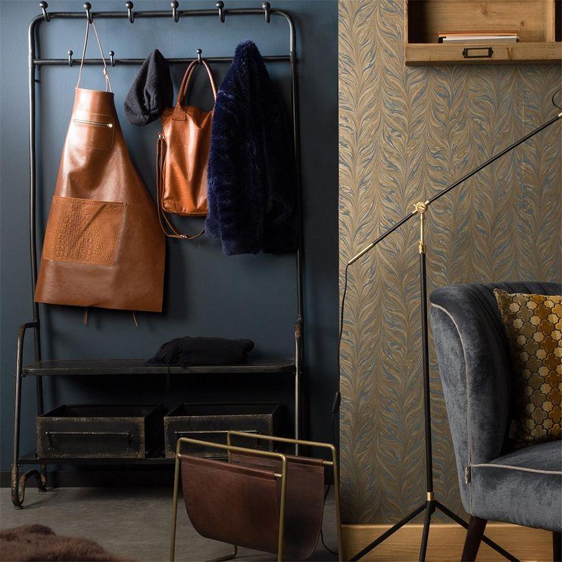 Meuble d´entrée vestiaire porte-manteau en métal finition antique