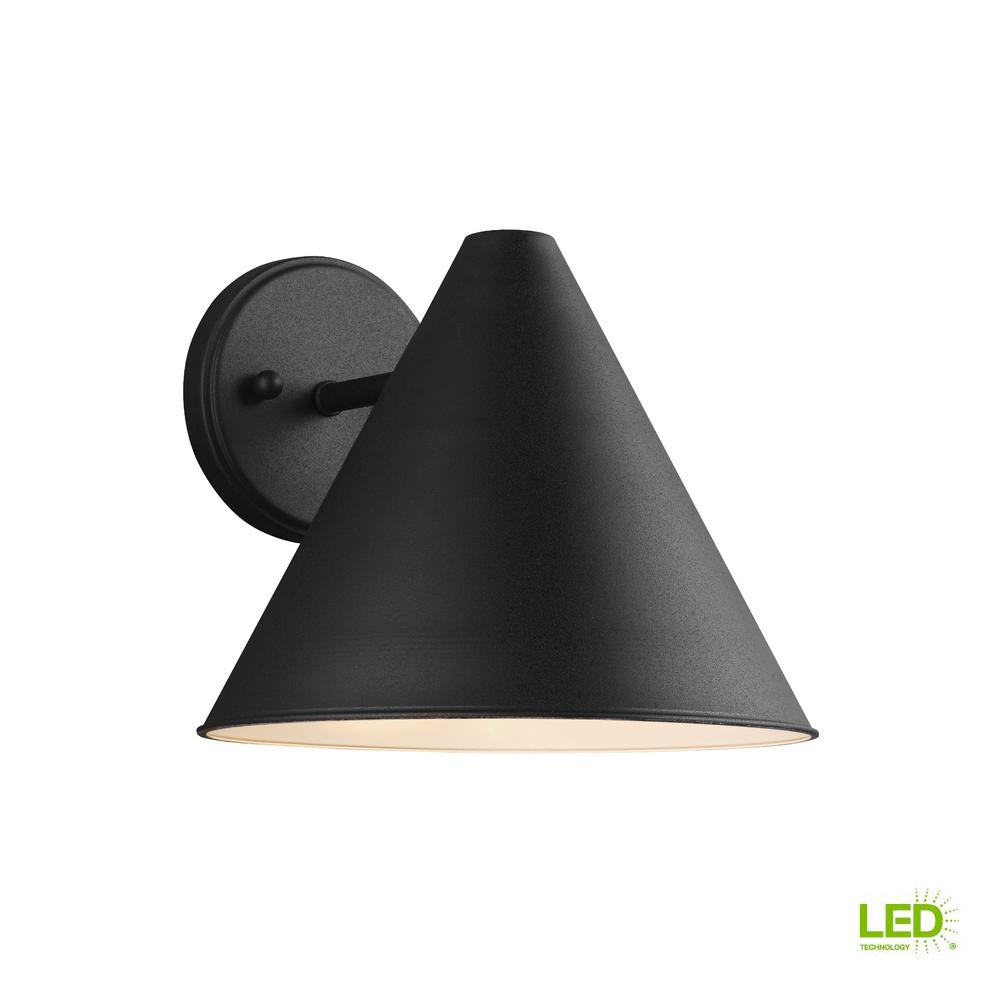 Sea Gull Lighting Crittenden 1 Light Black Outdoor 8 5 In Wall Lantern Sconce With Led Bulb 853850 In 2020 Sea Gull Lighting Outdoor Wall Lighting Outdoor Wall Sconce
