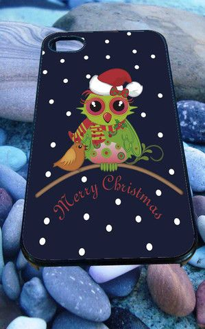 Cute Christmas Owl for iPhone 4/4s/5/5S/5C/6, Samsung S3/S4/S5