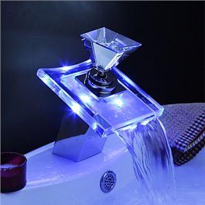 Changeant de couleur conduit des robinets d évier cascade salle de bains  (poignée de verre)   Robinet LED   Pinterest   Robinets, Changer de couleur  et ... ec50900aa530