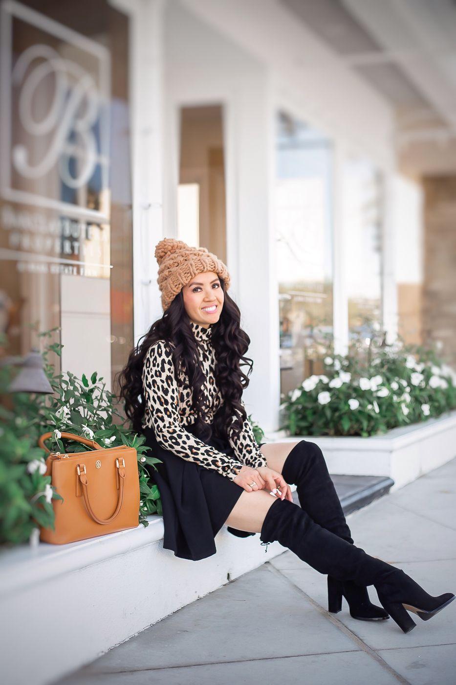 31aabc6e38 leopard top pleated bow skirt black over the knee boots pom beanie