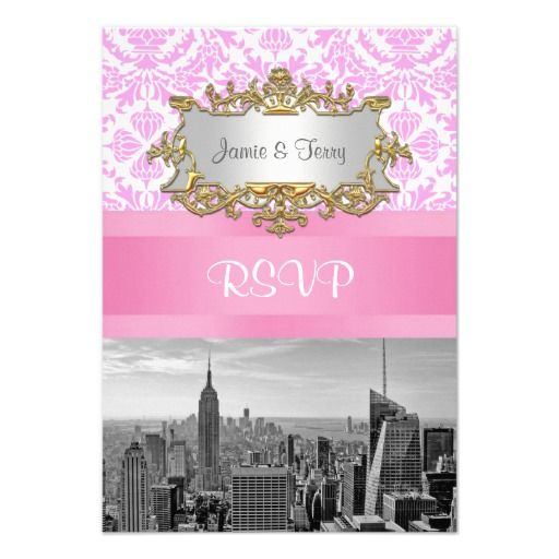 NY City Skyline BW D4P Pink Damask  RSVP 2 Custom Announcements