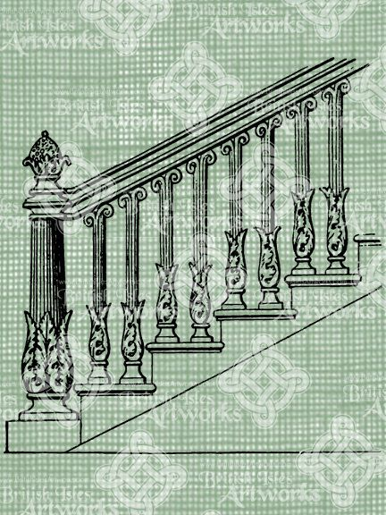 Digital Download Staircase Drawing Banister Architecture House Stairs,  Antique Illustration, Vintage Handrail Railing Steps