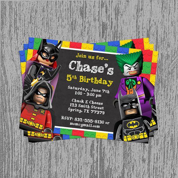 Lego Batman Chalkboard Birthday Invitation by LastingMomentsDesign