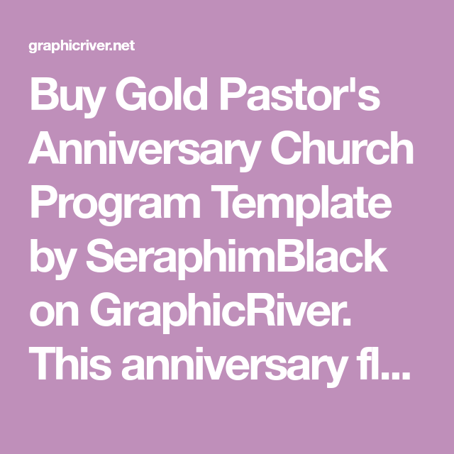 Program Templates Uses | Buy Gold Pastor S Anniversary Church Program Template By