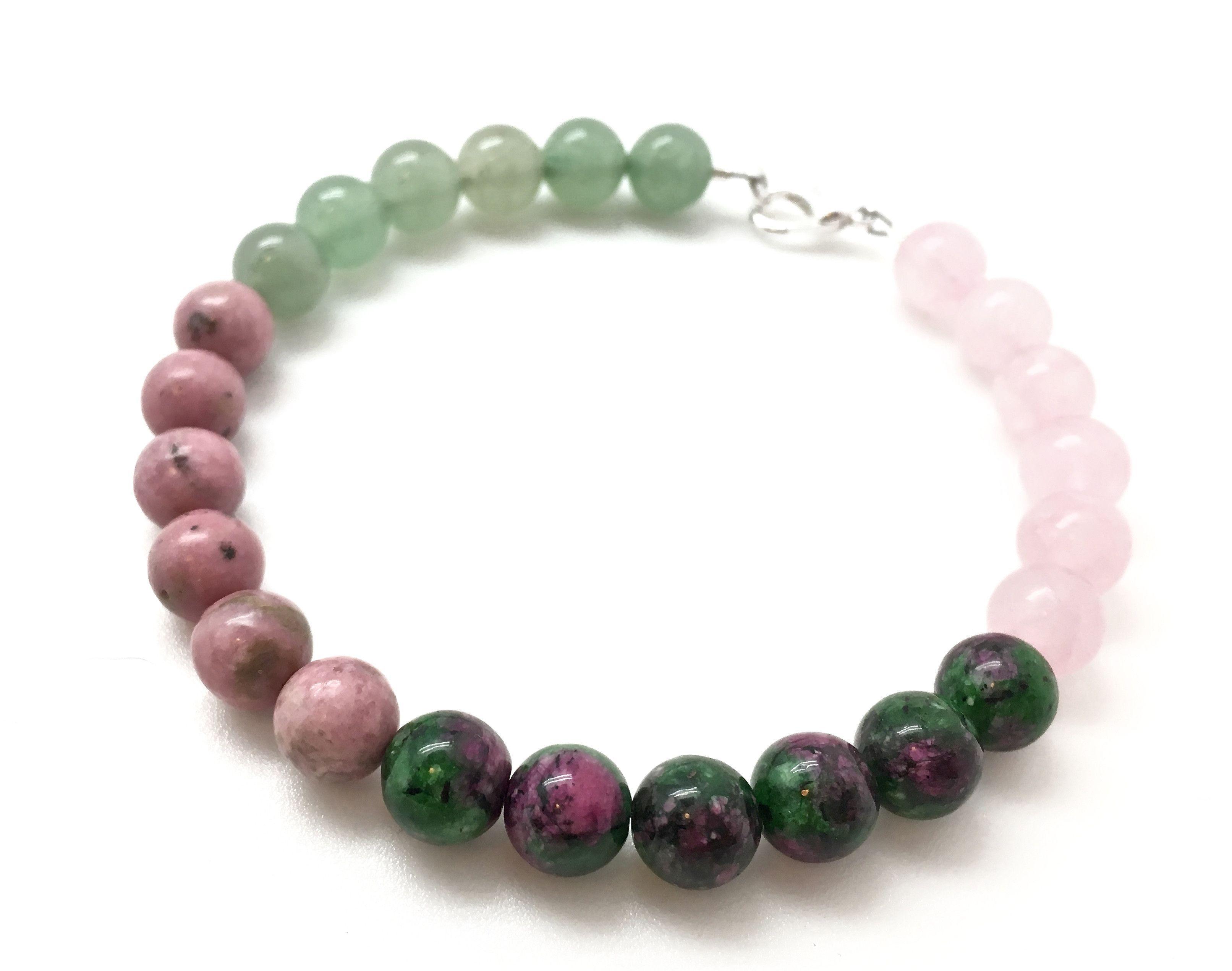 Heart Chakra Bracelet Green Aventurine Rhodonite Ruby
