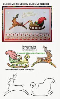 Flying Sleigh/Reindeer Christmas Iris Fold Card