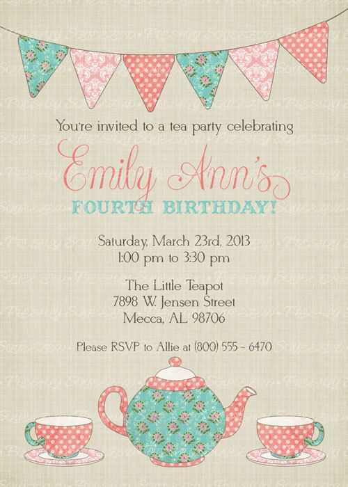 Tea Party Birthday Invitation Time For Little Digital Printable File
