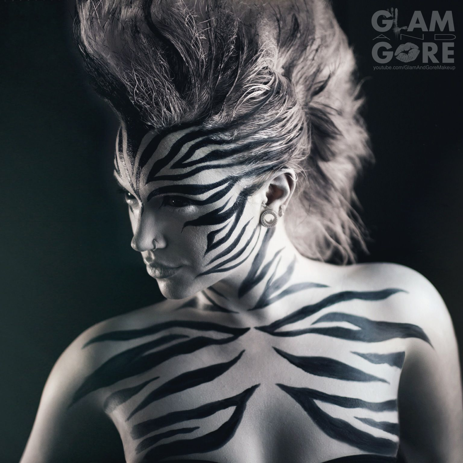 Zebra makeup and mohawk. For makeup tutorials and other looks…