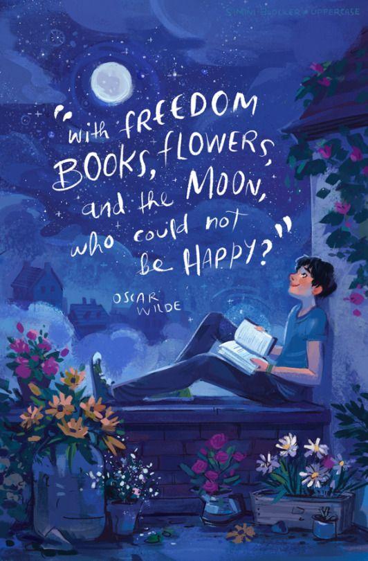 Great Con Libros De Libertad, Flores Y La Luna, Que No Podían Ser Felices♥