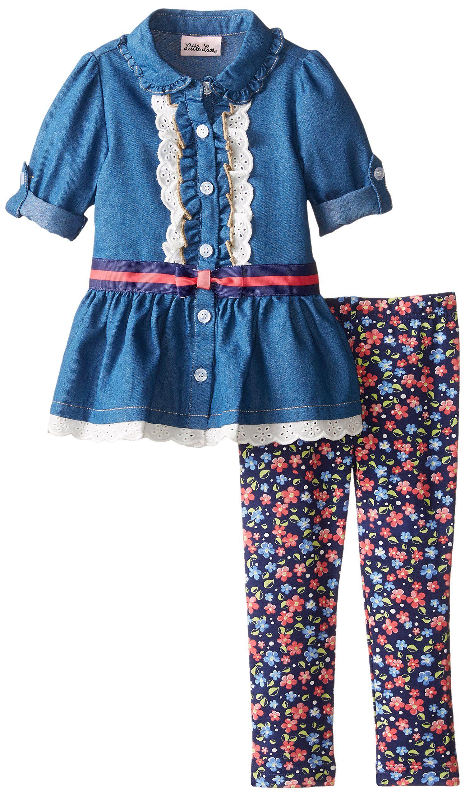 adb968c00171 Little Lass Little Girls  2 Piece Legging Set Chambray Lace Trim ...