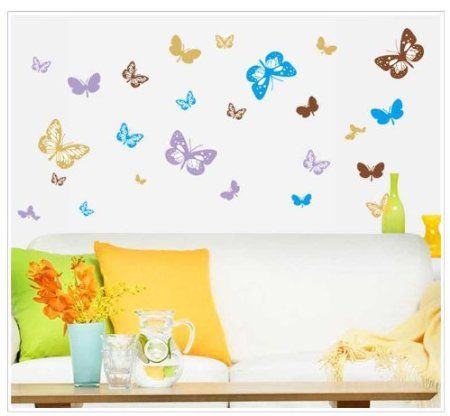 Wall Decals - YYone Colorful Butterflies Wall Sticker Living Room or Bedroom Decor