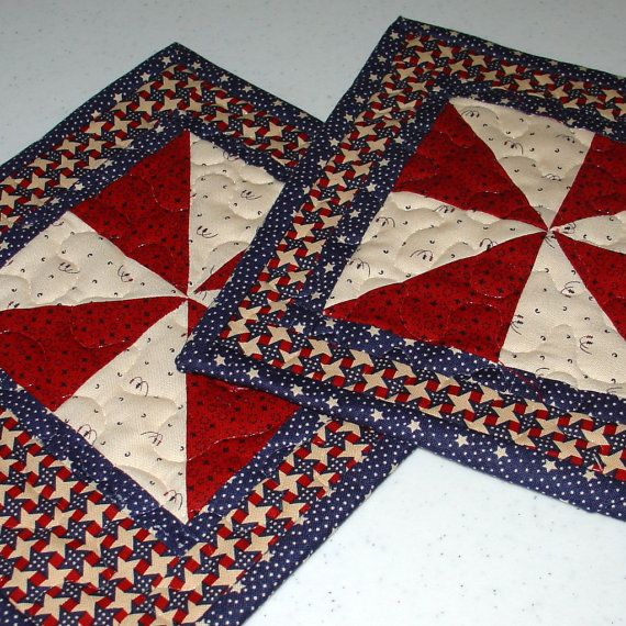 Quilted Mug Rug Red White And Blue 8 X 9 By
